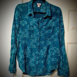 Women's mossimo Aztec print teal shirt xl